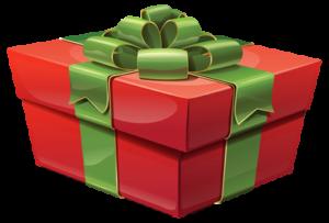 Rød julegave med grønt bånd
